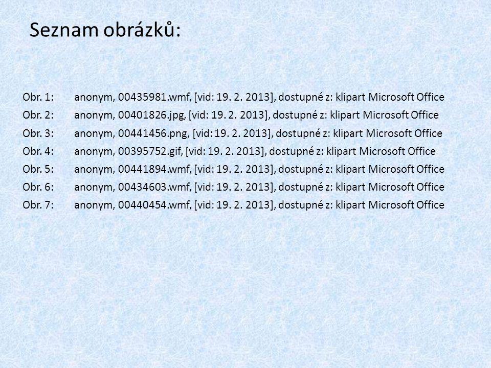 Seznam obrázků: Obr. 1: anonym, 00435981.wmf, [vid: 19. 2. 2013], dostupné z: klipart Microsoft Office.